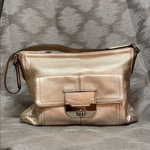 Luminous gold B.Makowasky shoulder bag NWOT
